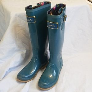 Joules poshwelly teal blue floral high rain boot.